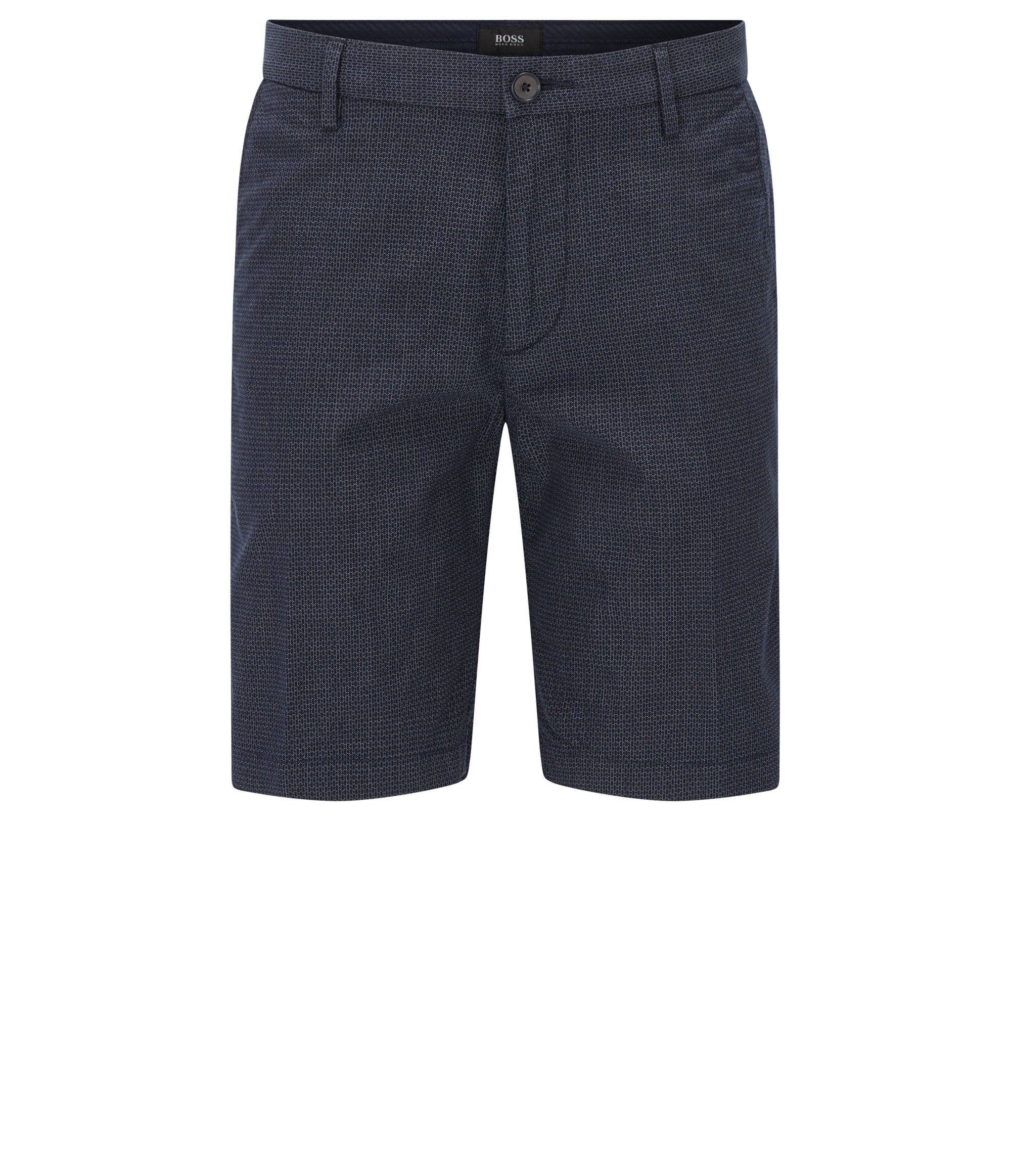Italian Stretch Cotton Shorts, Slim Fit | Rice Short W, Dark Blue