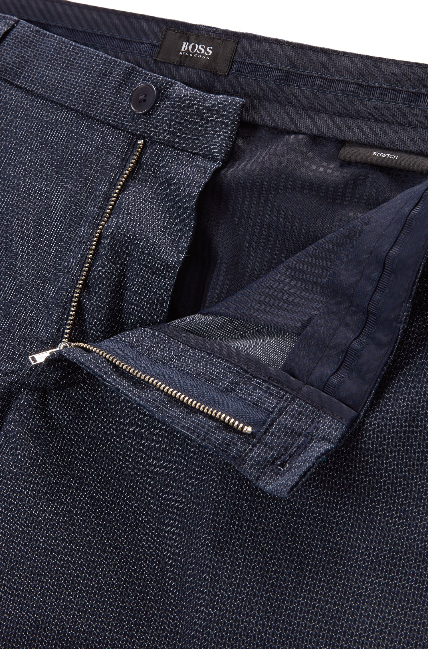 Italian Stretch Cotton Shorts, Slim Fit | Rice Short W, Dark Blue