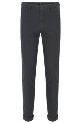 Garment-Dyed Stretch Cotton Chino Pant, Slim Fit   Kaito W, Dark Grey