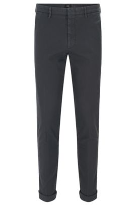 'Kaito W' | Slim Fit, Garment-Dyed Stretch Cotton Chino Pants, Dark Grey