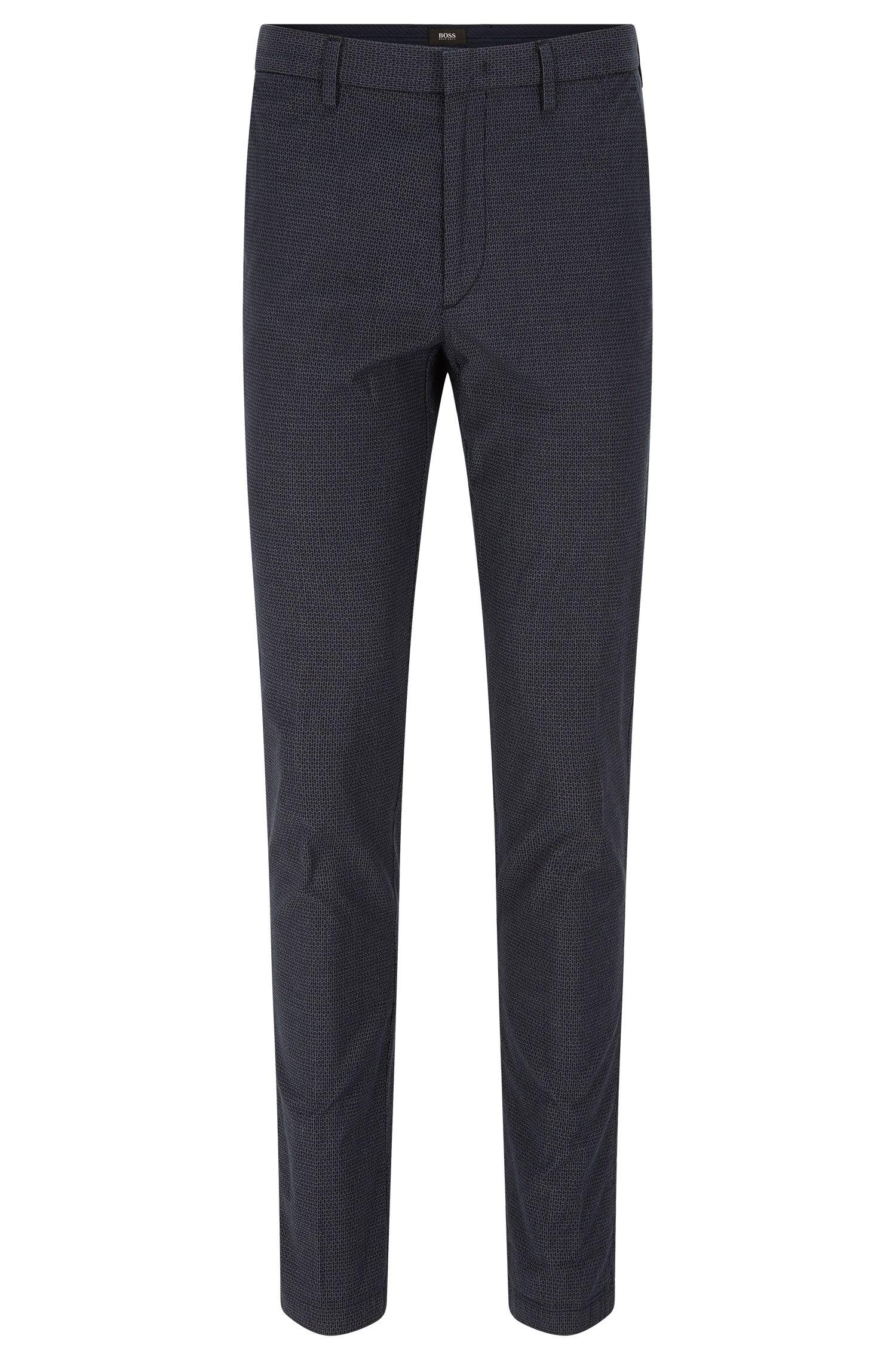 Geometric Stretch Cotton Chino Pants, Slim Fit | Kaito W, Dark Blue