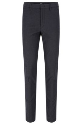 'Kaito W' | Slim Fit, Geometric Stretch Cotton Chino Pants, Dark Blue