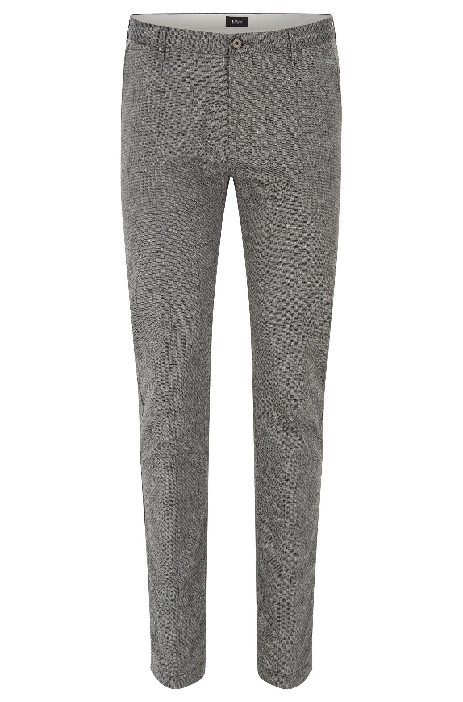 Windowpane Stretch Cotton Pant, Slim Fit | Rice W
