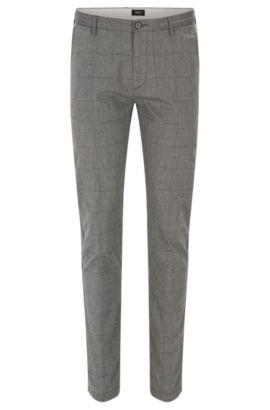 Windowpane Stretch Cotton Pant, Slim Fit | Rice W, Open Grey