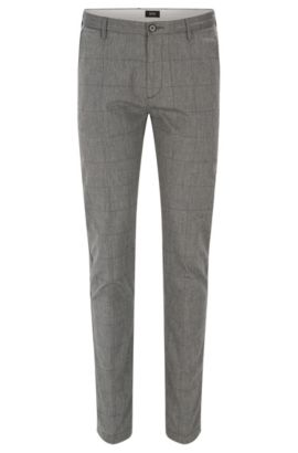 'Rice W' | Slim Fit, Windowpane Stretch Cotton Pants, Open Grey