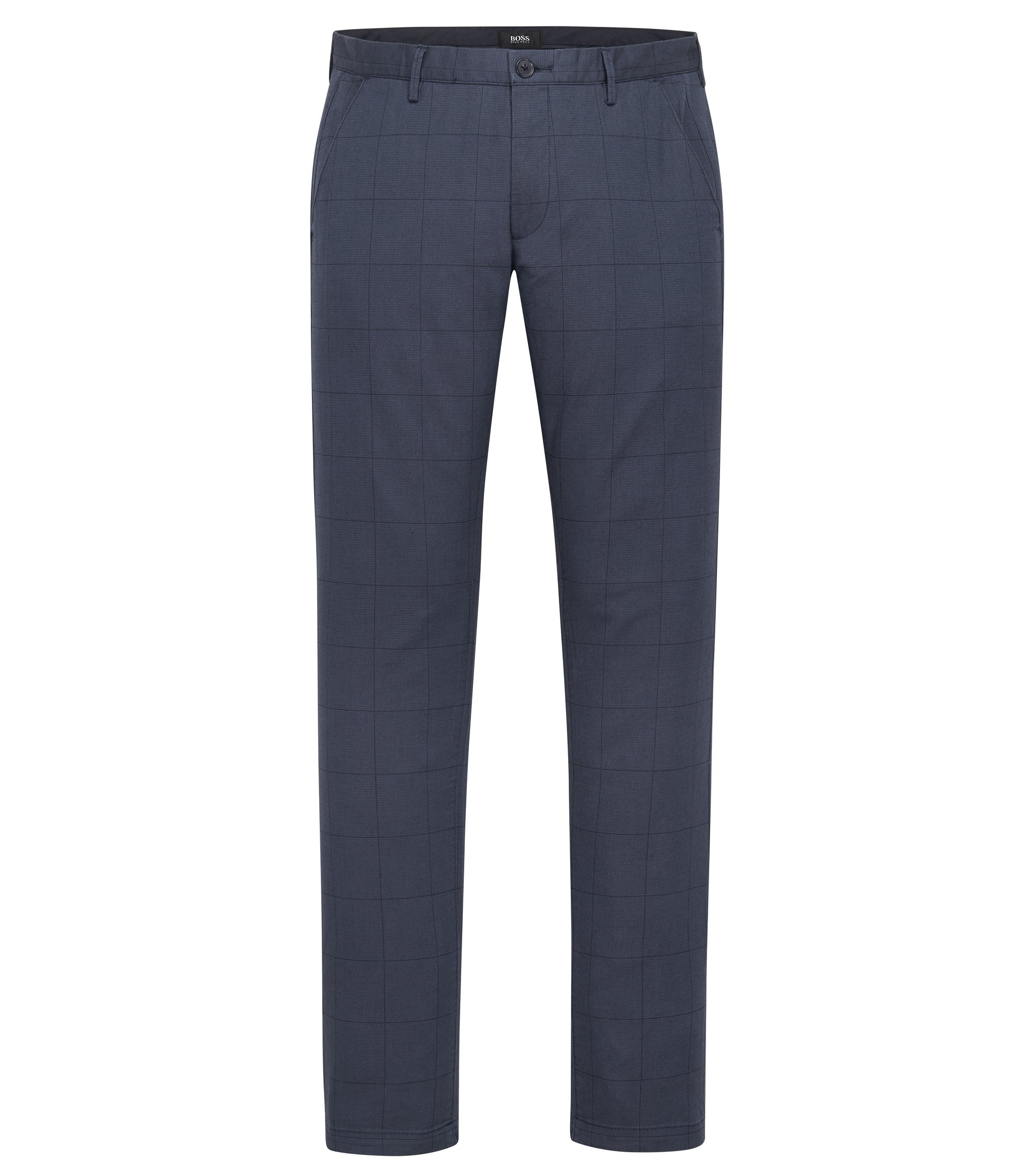 Windowpane Stretch Cotton Pant, Slim Fit | Rice W, Dark Blue