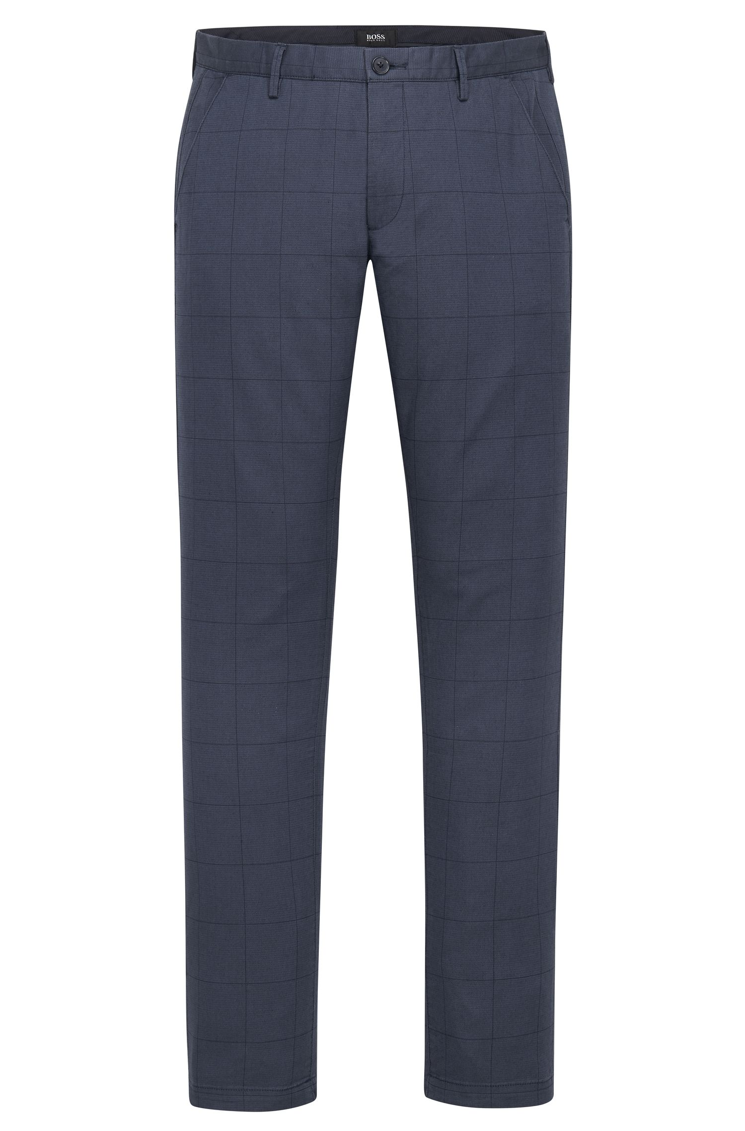 'Rice W' | Slim Fit, Windowpane Stretch Cotton Pants