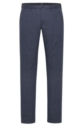 'Rice W' | Slim Fit, Windowpane Stretch Cotton Pants, Dark Blue