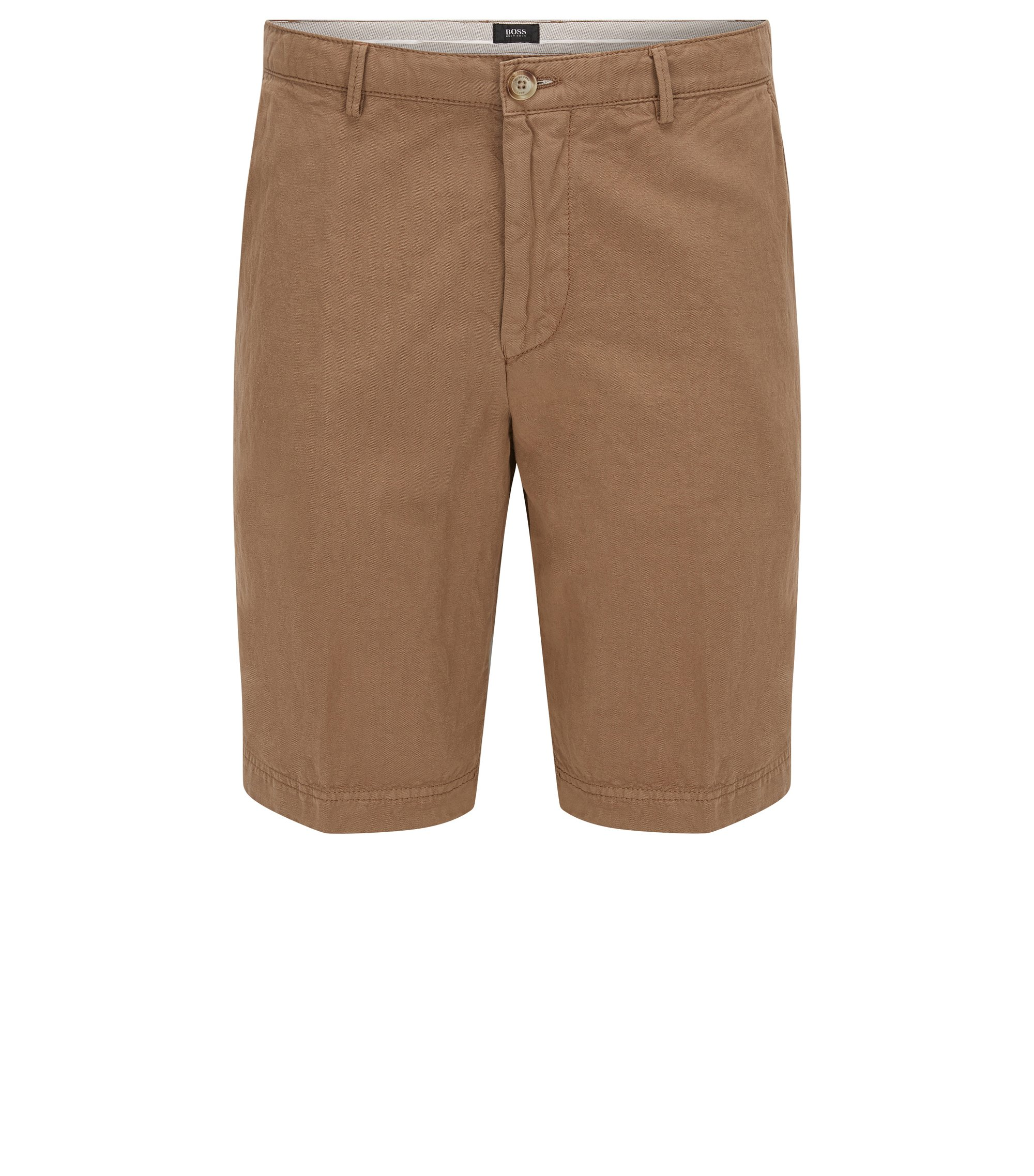 Cotton Linen Shorts, Regular Fit | Crigan Short D, Beige