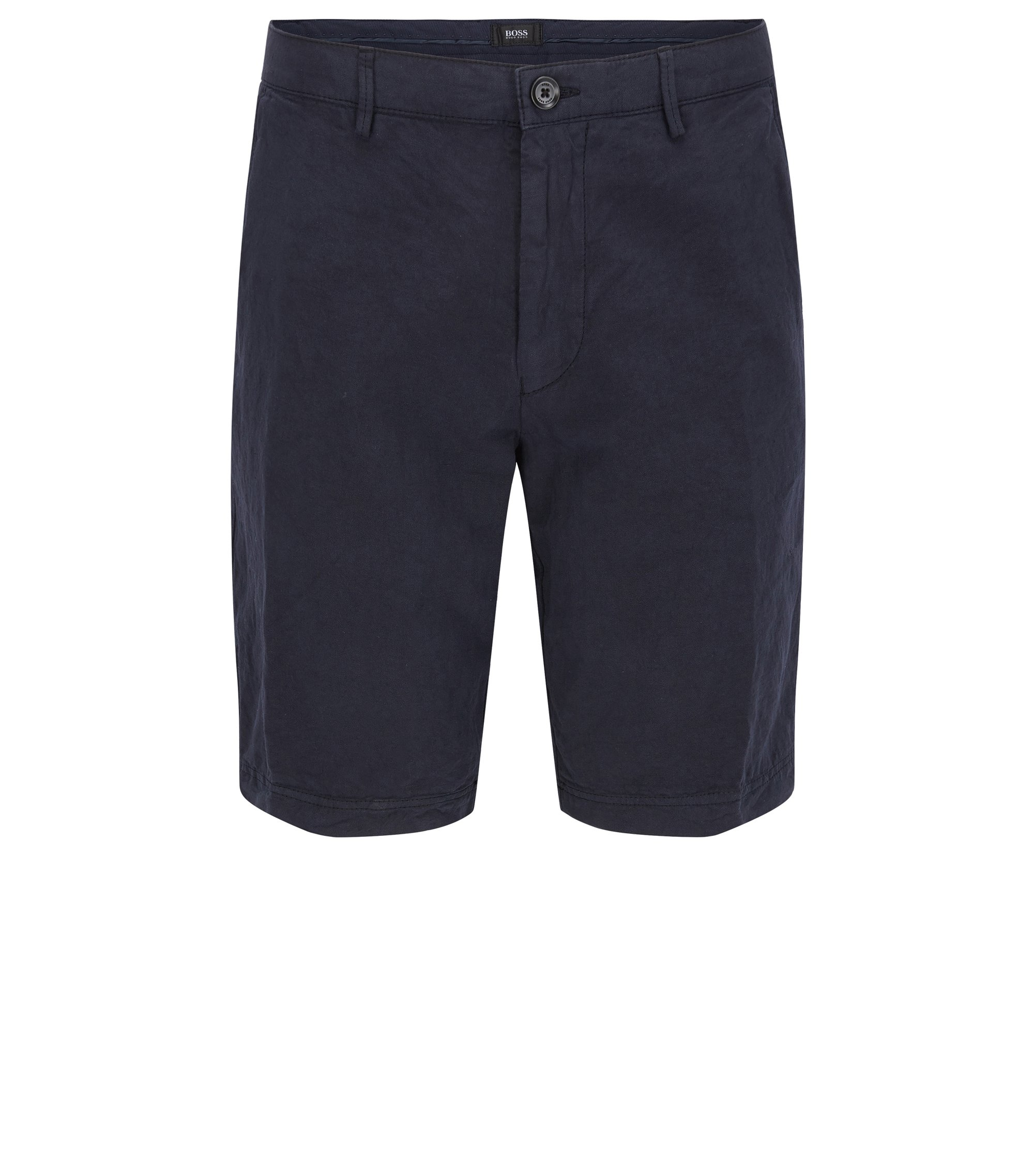 Cotton Linen Shorts, Regular Fit | Crigan Short D, Dark Blue