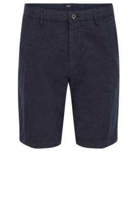 'Crigan Short D' | Regular Fit, Cotton Linen Shorts, Dark Blue