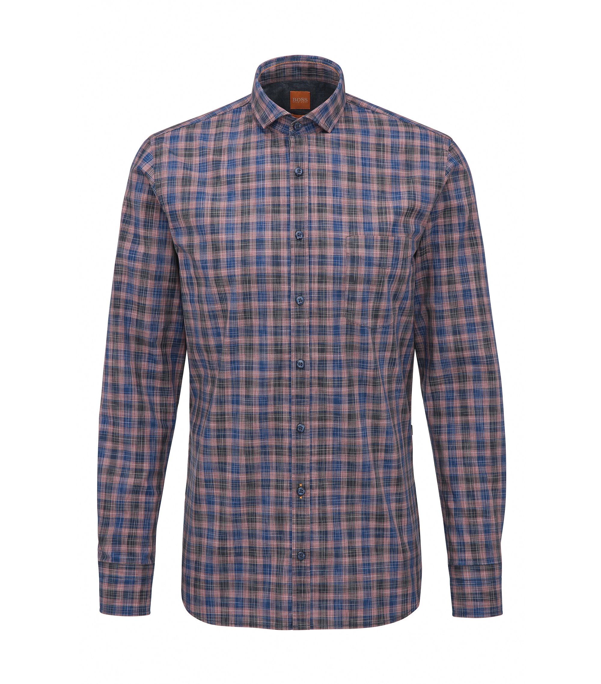 Plaid Cotton Sport Shirt, Slim Fit | Cattitude, Dark Blue