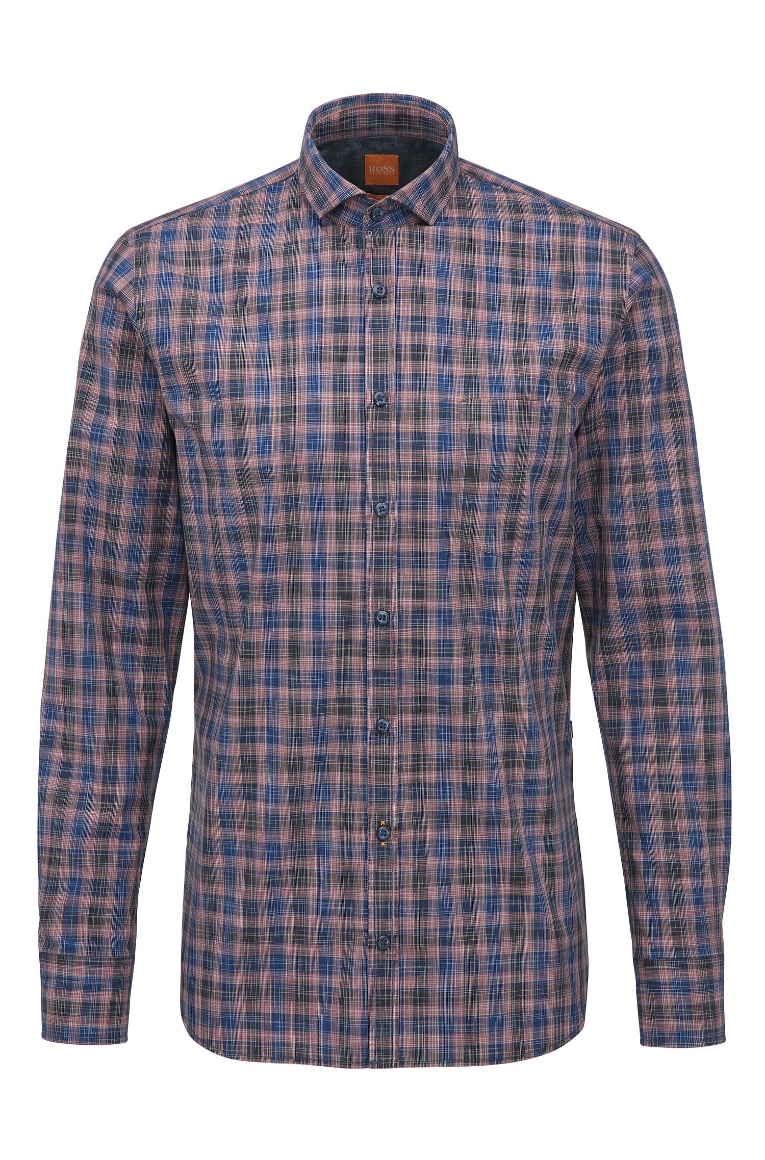 'Cattitude' | Slim Fit, Plaid Cotton Button Down Shirt