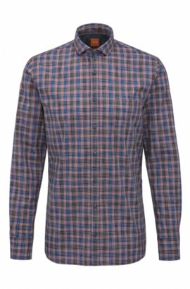 'Cattitude' | Slim Fit, Plaid Cotton Button Down Shirt, Dark Blue