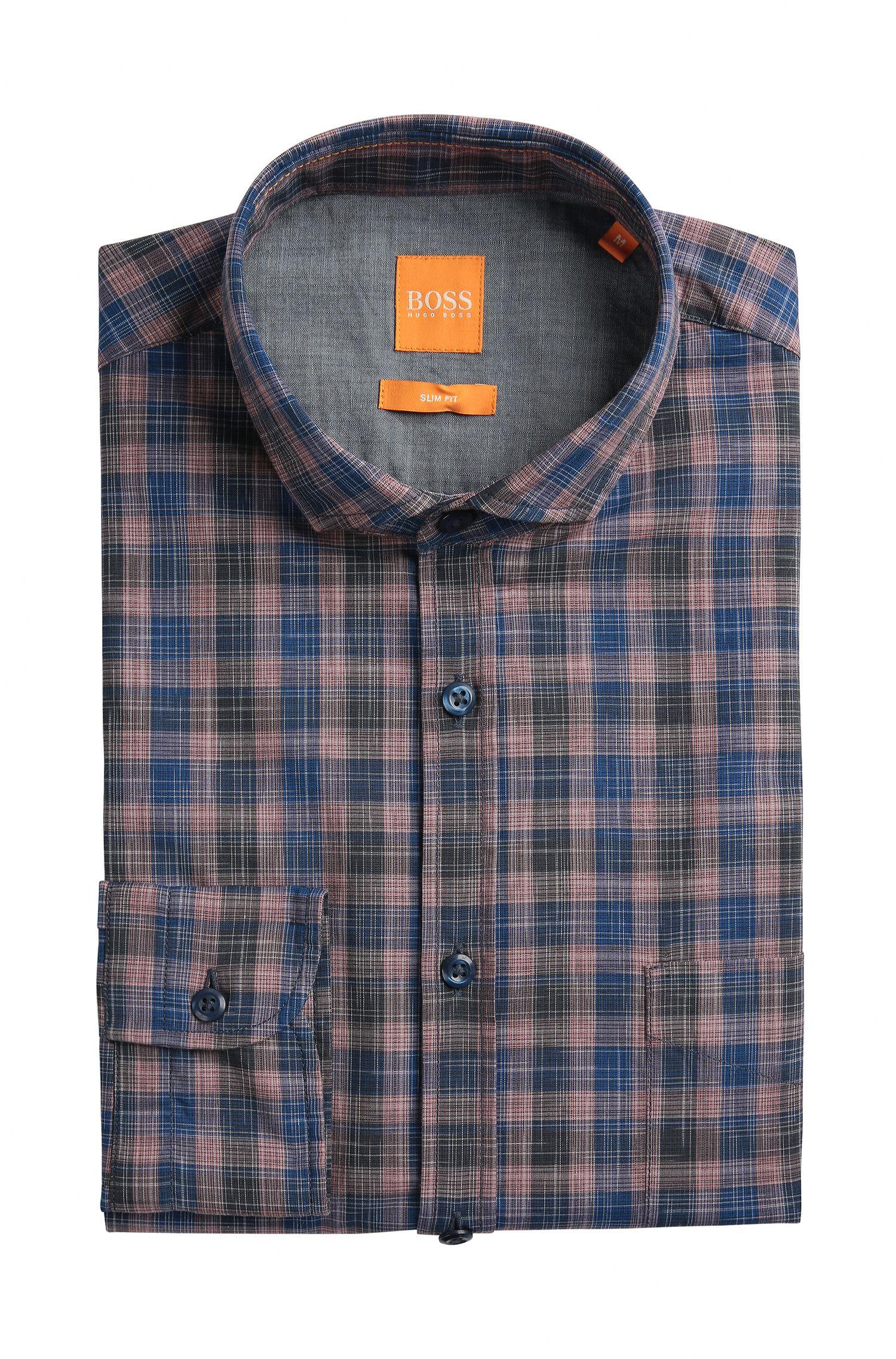 Plaid Cotton Sport Shirt, Slim Fit | Cattitude, Dark Blue