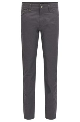 9 oz Basketweave Italian Stretch Cotton Pants, Regular Fit | Maine, Dark Grey
