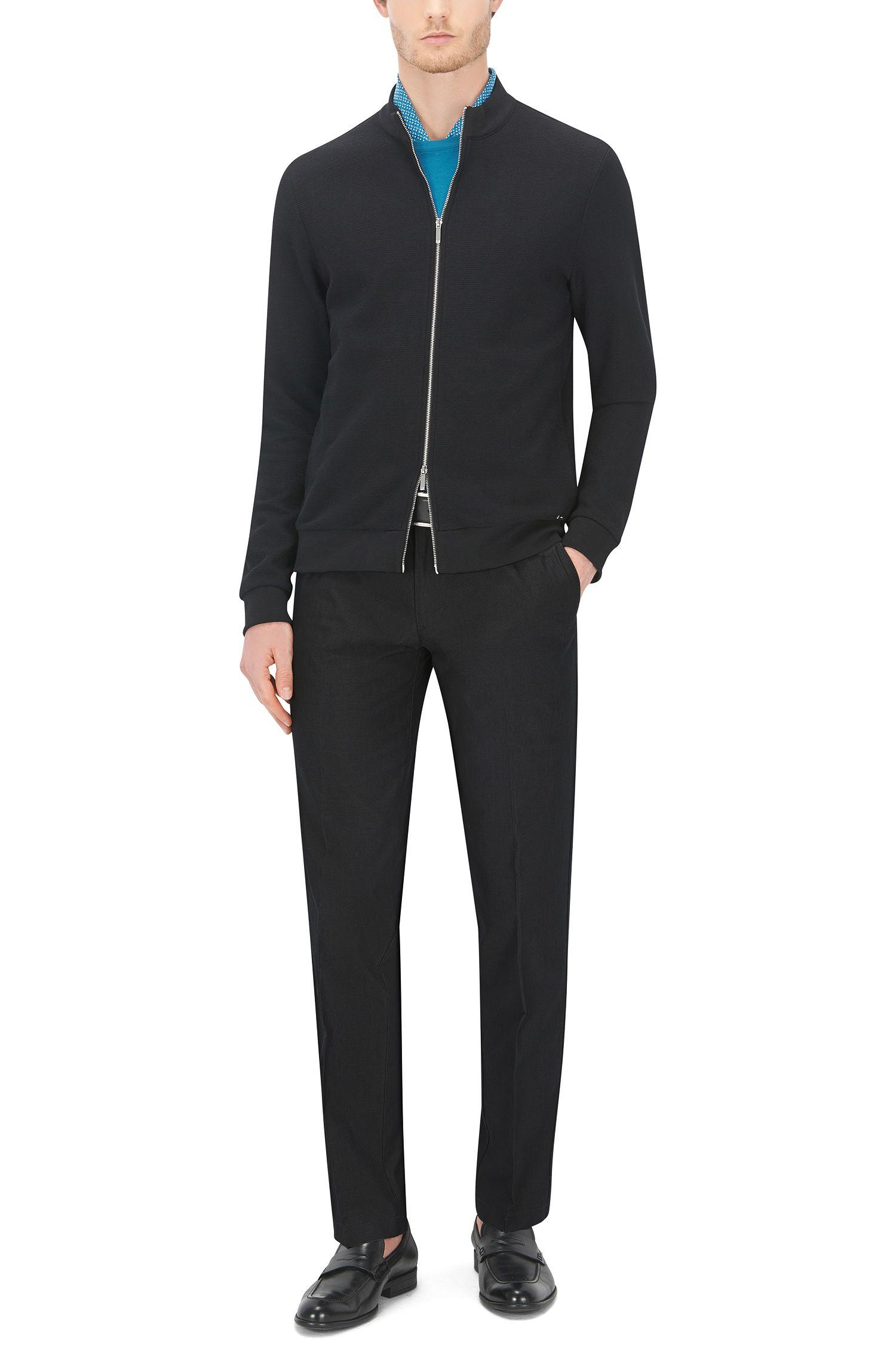 Cotton-Silk Pant, Regular Fit   Crigan Luxe W, Dark Grey