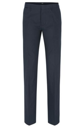 'Crigan Luxe W' | Regular Fit, Cotton-Silk Trousers, Dark Blue