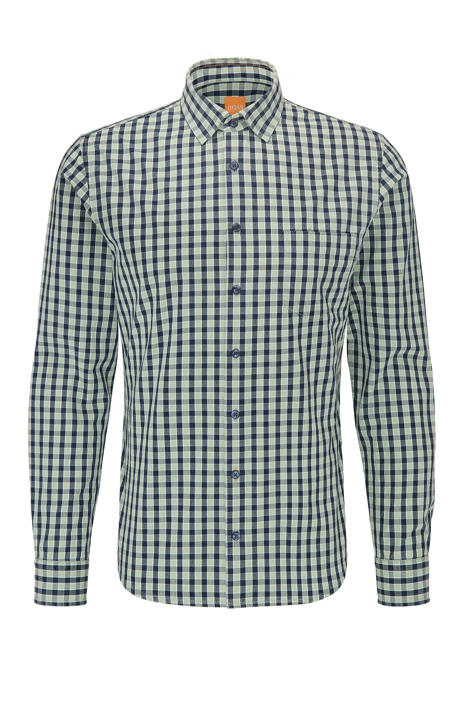 Gingham Cotton Button-Down Shirt, Slim Fit | Epop
