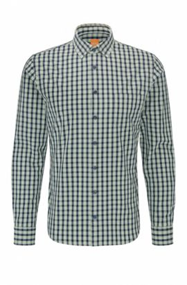 'Epop' | Slim Fit, Gingham Cotton Button-Down Shirt, Turquoise