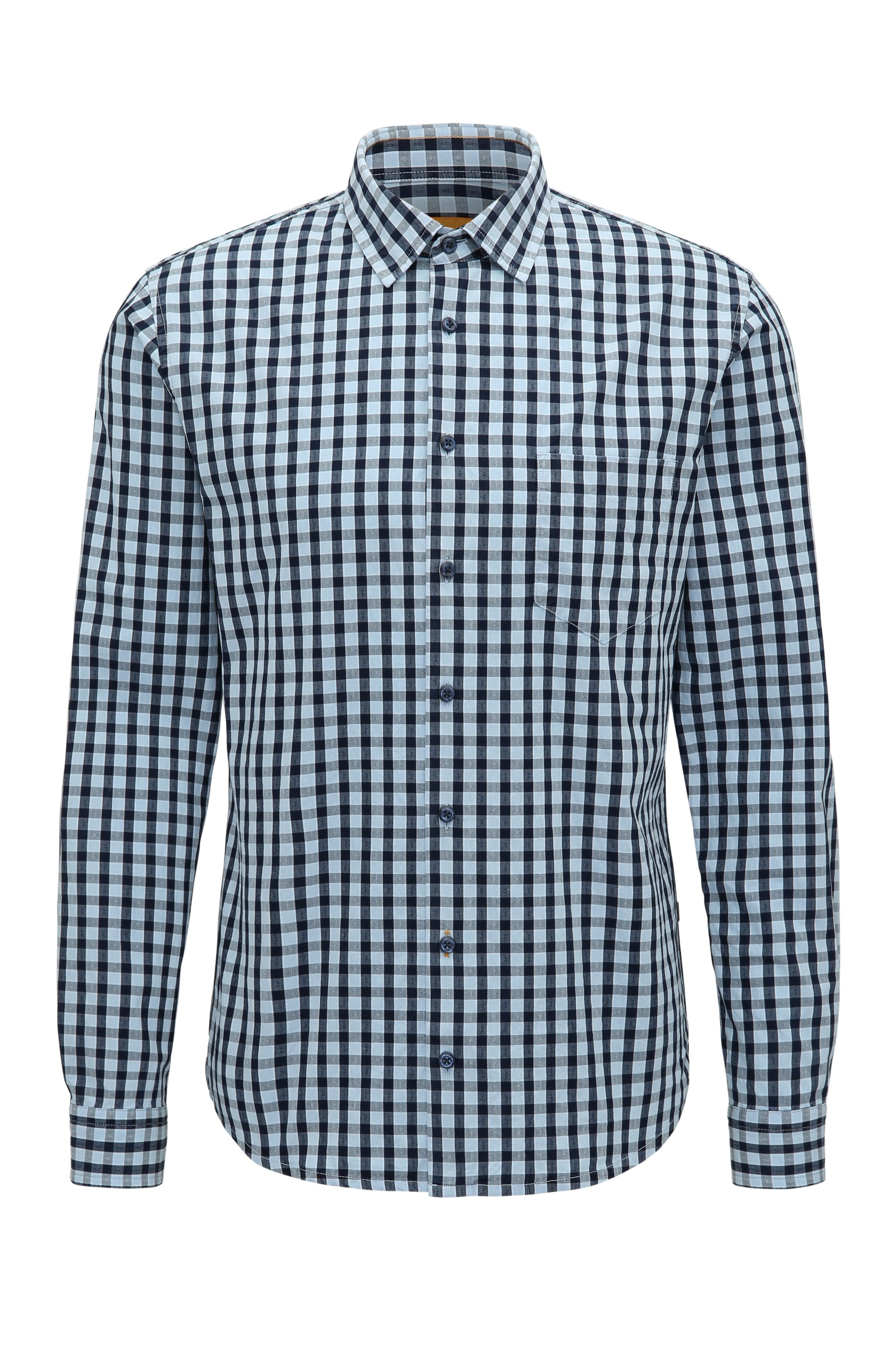 Gingham Cotton Sport Shirt, Slim Fit | Epop, Open Blue