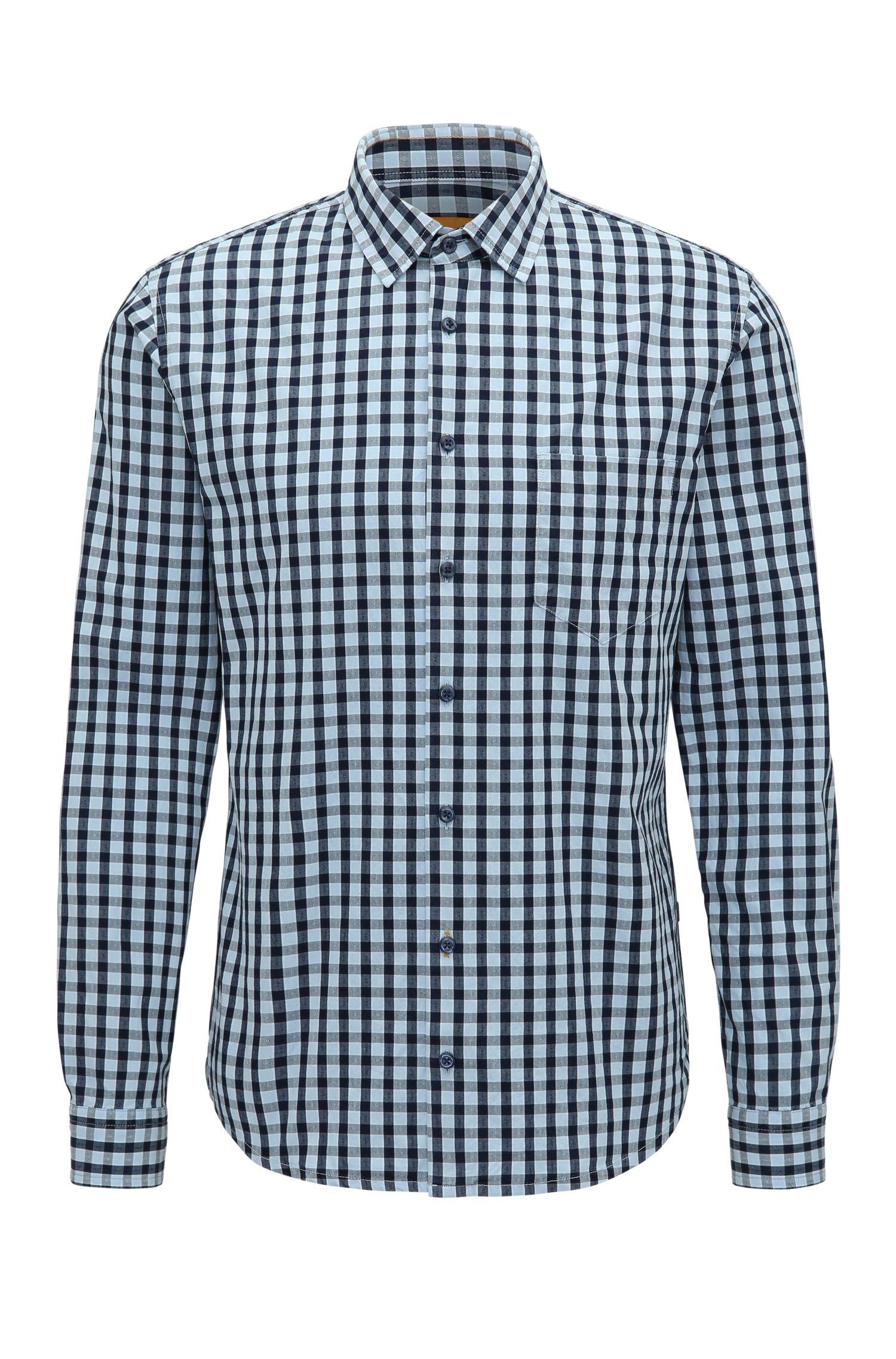 Gingham Cotton Sport Shirt, Slim Fit | Epop