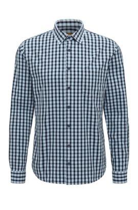 Gingham Cotton Button-Down Shirt, Slim Fit   Epop, Open Blue