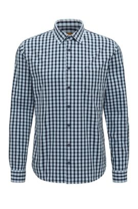'Epop' | Slim Fit, Gingham Cotton Button-Down Shirt, Open Blue
