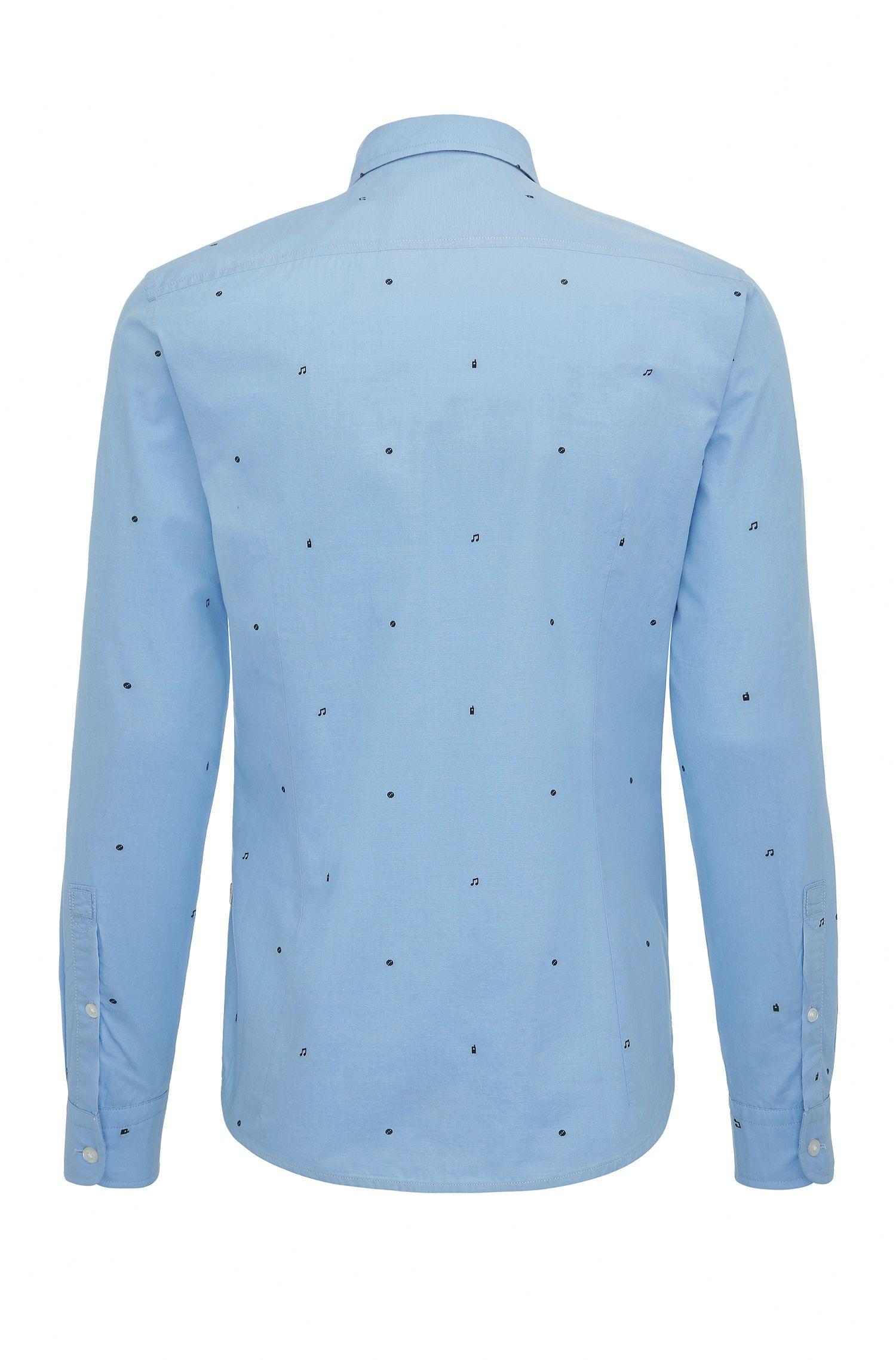 Printed Cotton Button-Down Shirt, Slim Fit | Epop, Open Blue