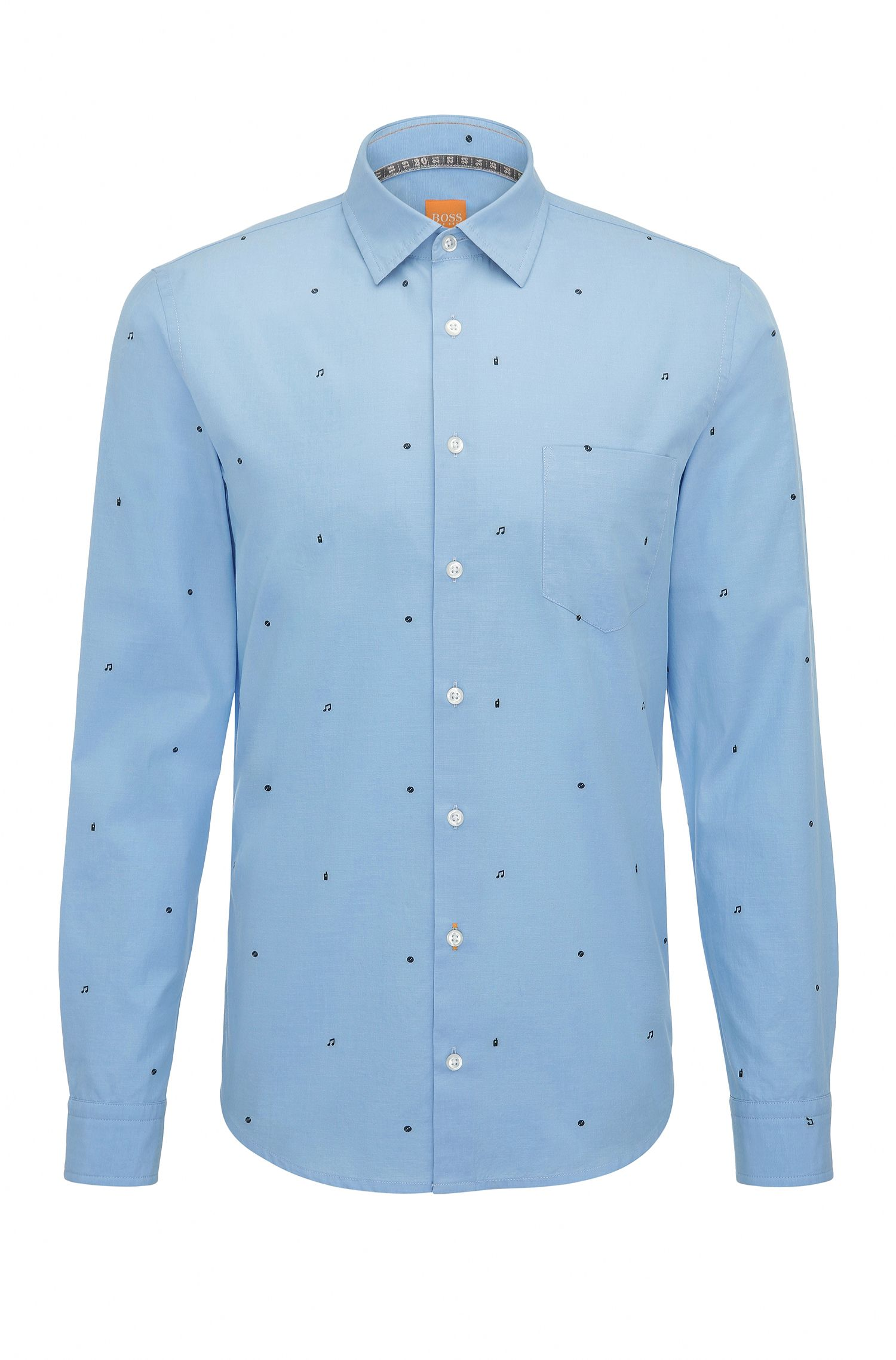 Printed Cotton Button-Down Shirt, Slim Fit | Epop