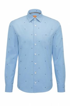 'Epop' | Slim Fit, Printed Cotton Button-Down Shirt, Open Blue