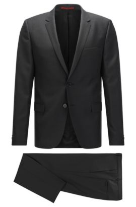 Italian Virgin Wool Silk Suit, Extra-Slim Fit | Arti/Hesten, Black