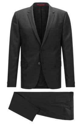 Italian Virgin Wool Silk Suit, Extra-Slim Fit | Arti/Hesten, Black