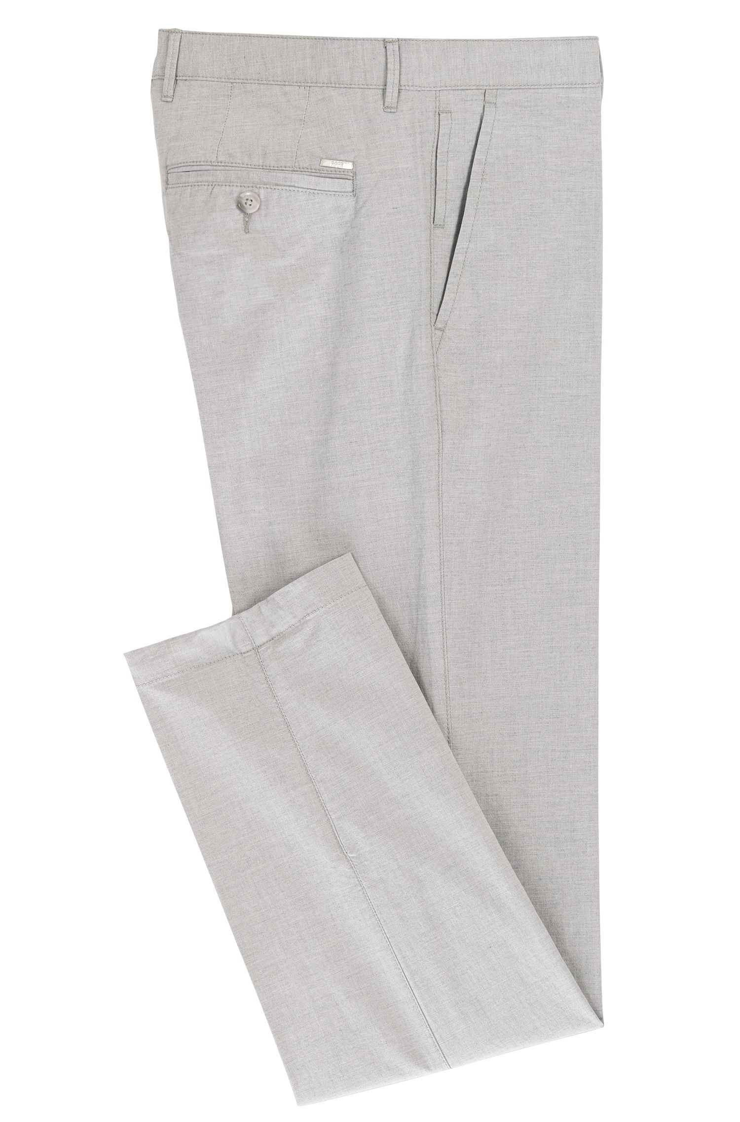 Yarn Dyed Stretch Cotton Pant, Regular Fit | Crigan, Light Grey