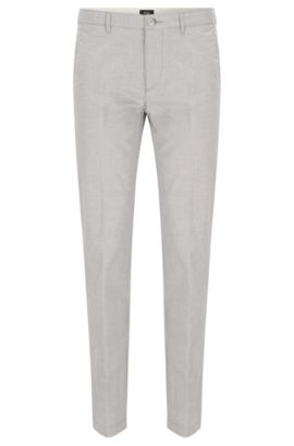 'Crigan W' | Regular Fit, Stretch Cotton Pants, Light Grey