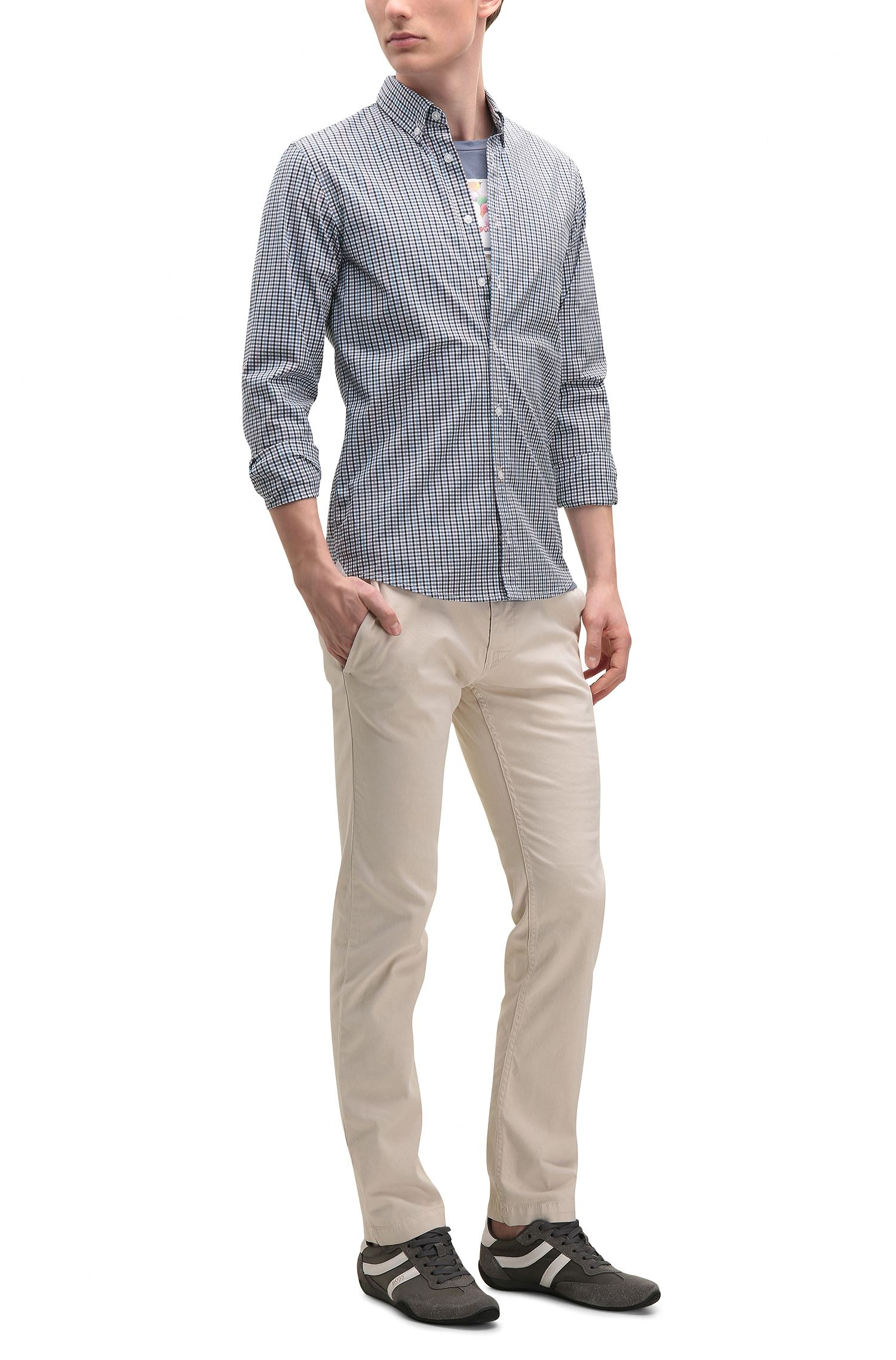 Plaid Stretch Cotton Sport Shirt with Stretch Tailoring, Slim Fit | Epreppy