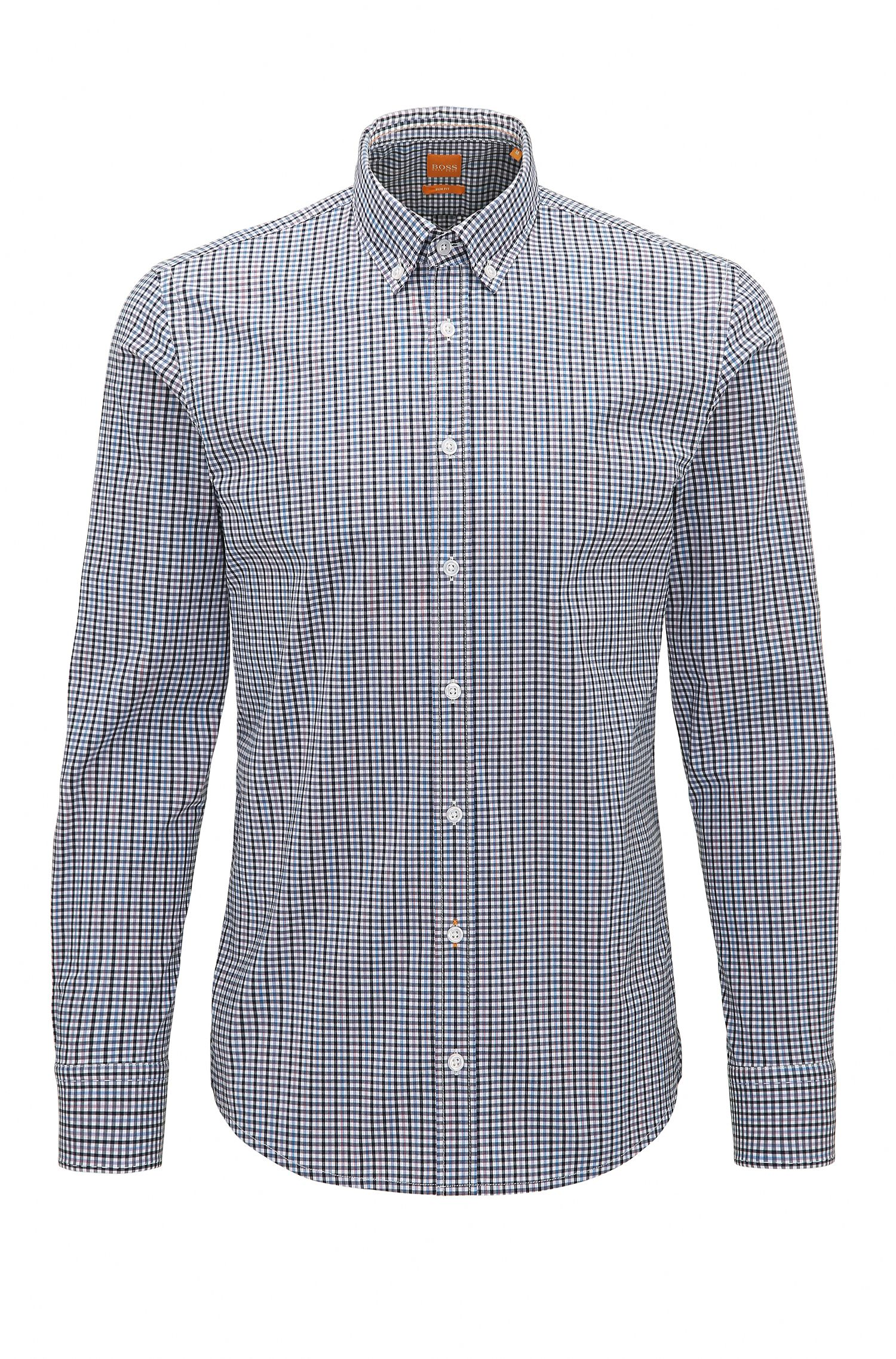 Plaid Stretch Cotton Button-Down Shirt with Stretch Tailoring, Slim Fit | Epreppy