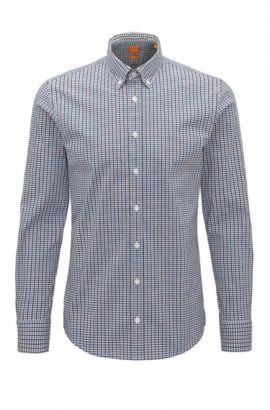 Plaid Stretch Cotton Button-Down Shirt with Stretch Tailoring, Slim Fit | Epreppy, light pink