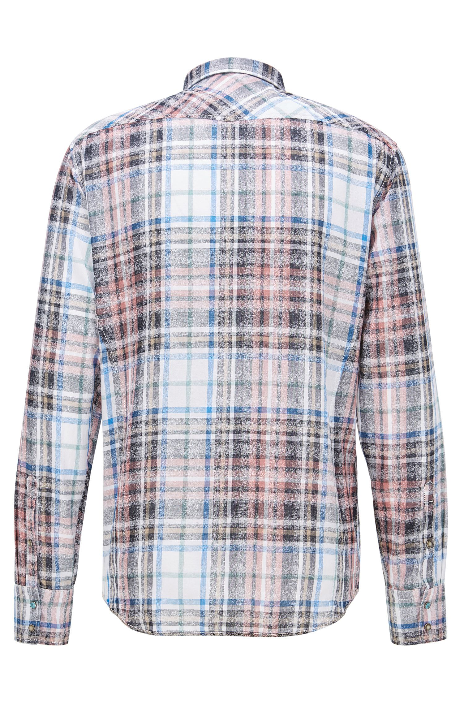 Plaid Cotton Sport Shirt, Extra Slim Fit | Erodeo, light pink
