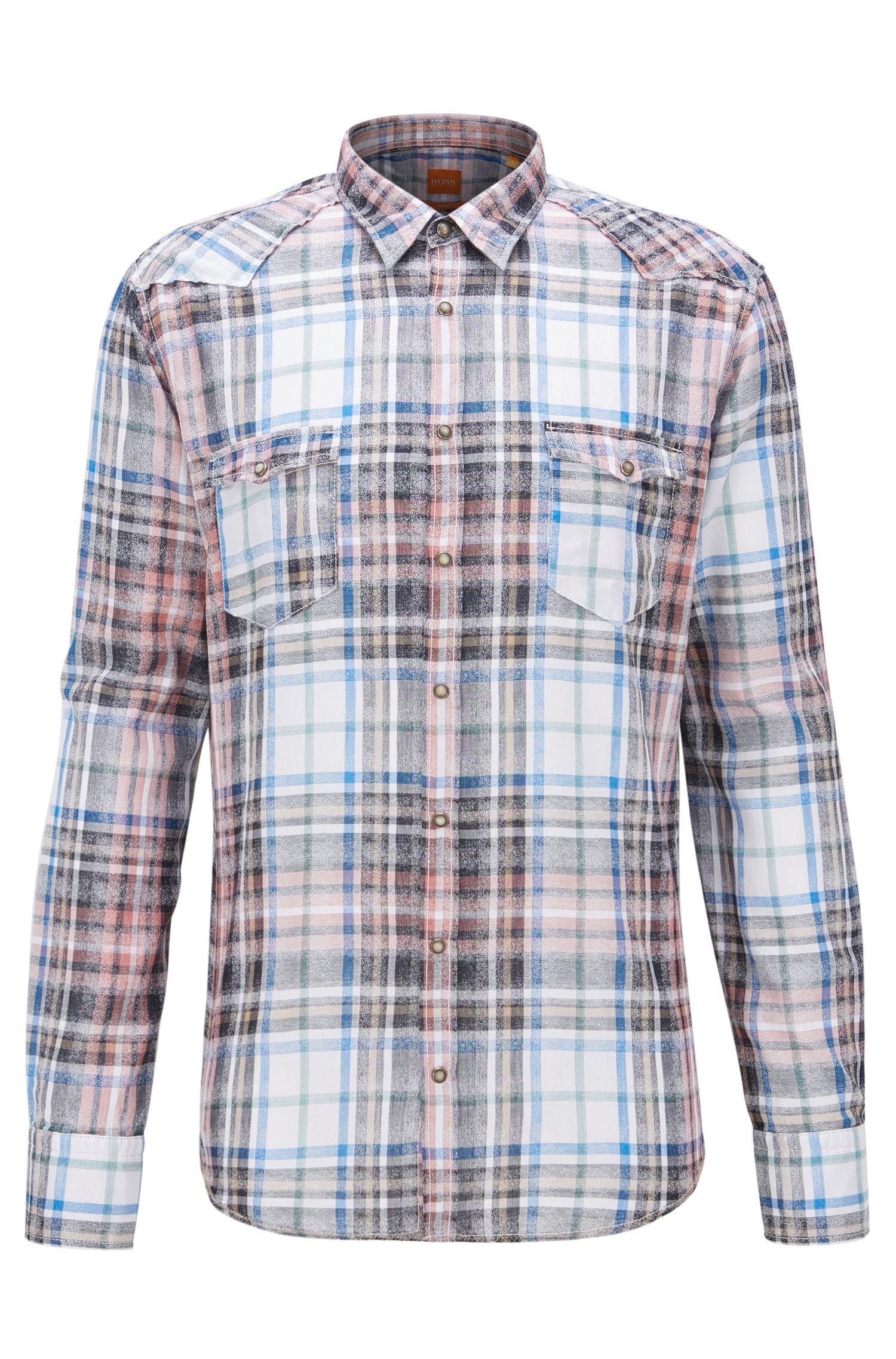 'Erodeo' | Extra-Slim Fit, Plaid Cotton Button-Down Shirt