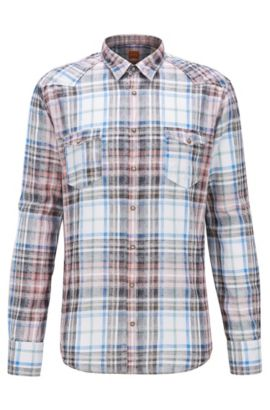 'Erodeo' | Extra-Slim Fit, Plaid Cotton Button-Down Shirt, light pink