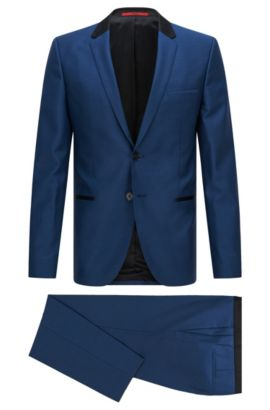 Super 110 Virgin Wool Suit, Slim Fit | Anly/Hetin, Open Blue