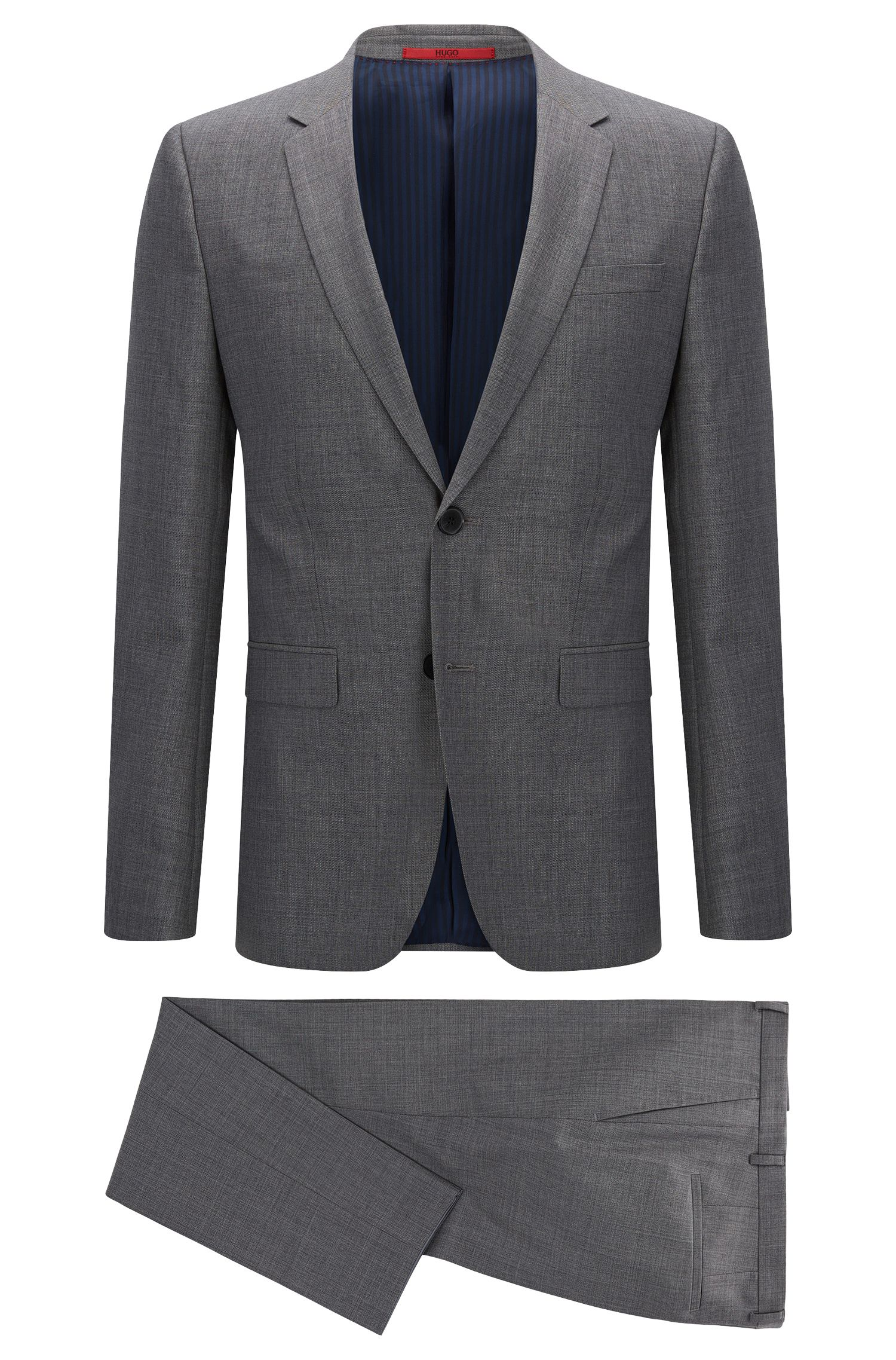 Crosshatch Italian Super 110 Virgin Wool Suit, Slim Fit | Astian/Hets