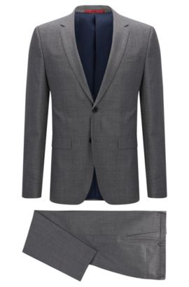 Crosshatch Italian Super 110 Virgin Wool Suit, Slim Fit | Astian/Hets, Grey