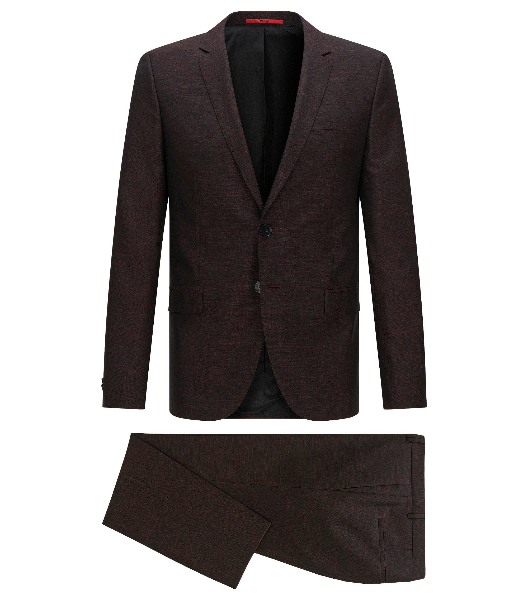 Virgin Wool Blend Suit, Slim Fit | Arti/Heston, Dark Red