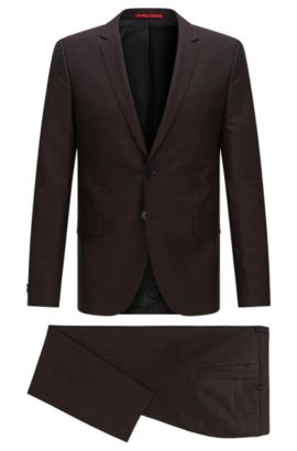 Virgin Wool Blend Suit, Slim Fit | Arti/Heston, Dark Red