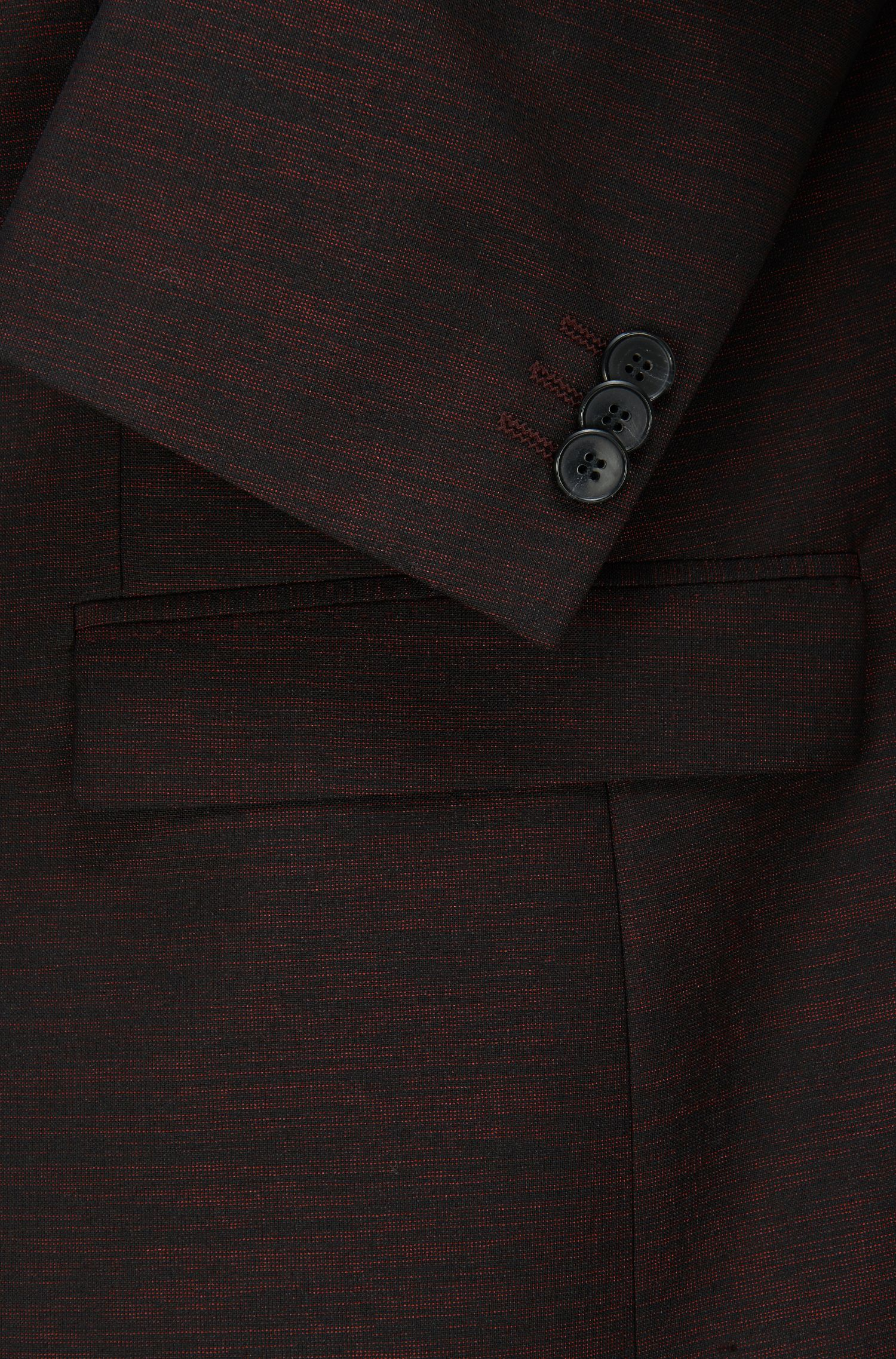 Virgin Wool Blend Suit, Slim Fit | Arti/Hesten, Dark Red