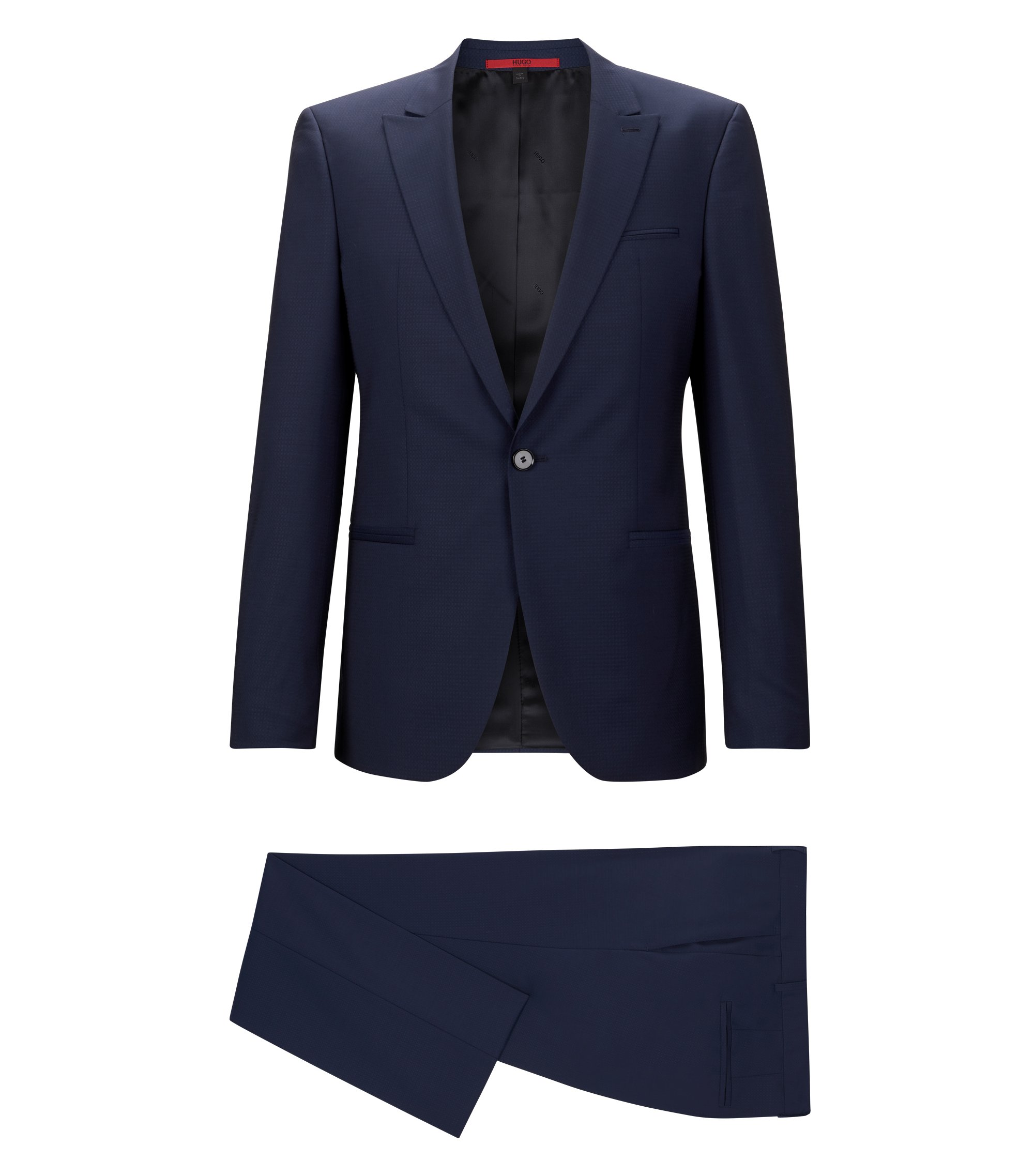 'Adgin/Hiels' | Slim Fit, Jacquard Italian Super 120 Virgin Wool Suit, Open Blue