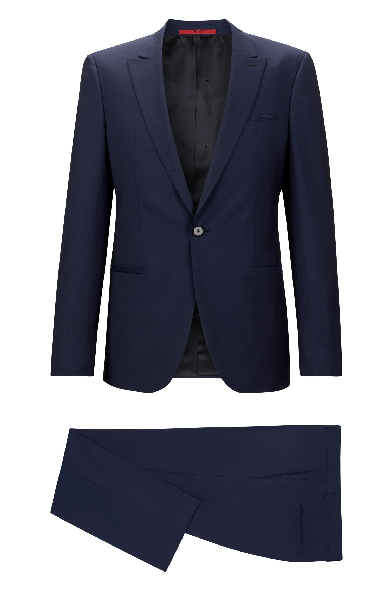 'Adgin/Hiels' | Slim Fit, Jacquard Italian Super 120 Virgin Wool Suit