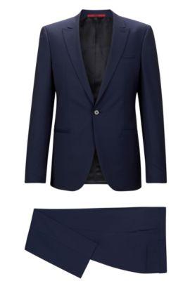 'Adgin/Hiels' | Slim Fit, Jacquard Italian Super 120 Virgin Wool Suit, Open Blue